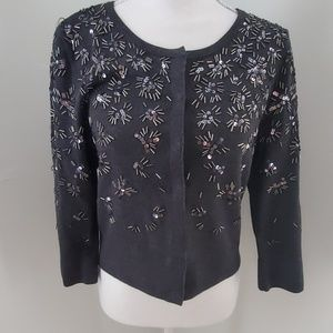 EUC WHBM Sequined and Beaded Cardigan Sweater sz S